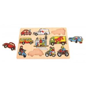 Bigjigs - puzzle drewniane z uchwytami Pojazdy (Z1805)