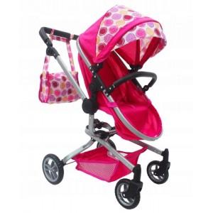 Ecotoys - wózek dla lalek 2w1 gondola, spacerówka +torba (Z1853)