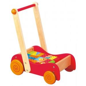 Lelin - Drewniany wózek i pchacz z klockami (Z1900)