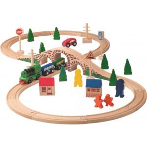Woody - drewniana kolejka z lokomotywą na baterie (Z1906)