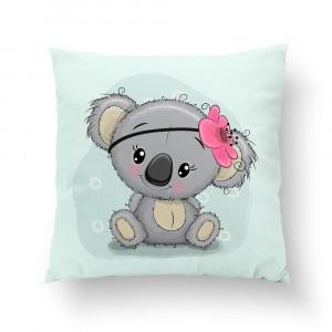 Poduszka Koala z kwiatuszkiem / minky różowy (Z1932)