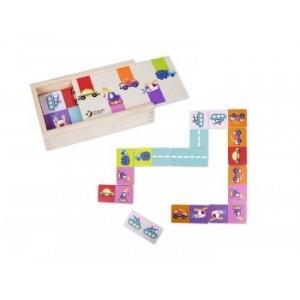 Classic World - Drewniane kolorowe domino z pojazdami (Z2068)