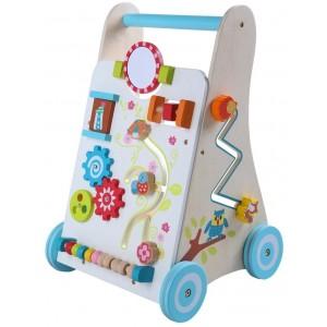 ECOTOYS - Drewniany pchacz chodzik wózek edukacyjny (Z2094)