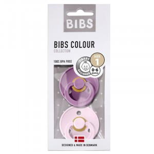 BIBS 2-pak Smoczek uspokajający kauczuk Hevea Lavender&Baby Pink 0+ (Z2186)