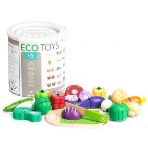 ECOTOYS - Drewniany zestaw do krojenia - Warzywa (Z2274)