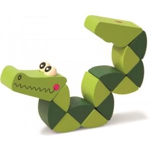 Woody - Drewniana elastyczna motoryczna zabawka - krokodyl (Z2325)