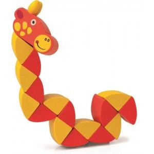 Woody - Drewniana elastyczna motoryczna zabawka - żyrafa (Z2326)