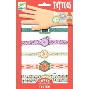Djeco - tatuaże dla dzieci metaliczne - Zegarki Wendy (Z2330)