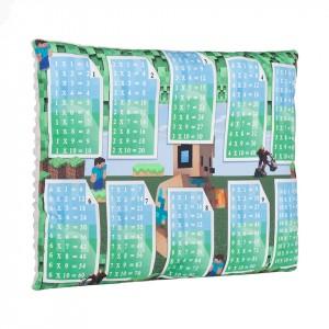 Poduszka tabliczka mnożenia Minecraft+minky szare (Z2423)