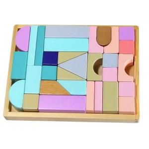 ECOTOYS - drewniane klocki z tacką 29 elementów (Z2489)