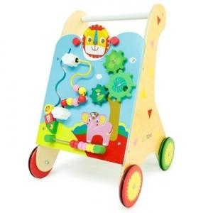 ECOTOYS - Drewniany pchacz wózek edukacyjny (Z2492)
