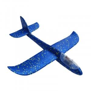 Samolot szybowiec styropianowy z ledami - niebieski (Z2536)