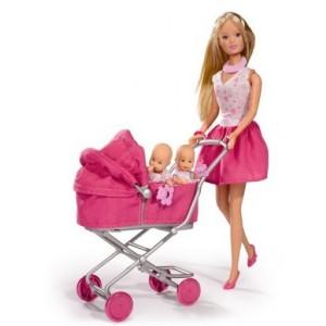 SIMBA - Lalka Stefii Love na spacerze z wózkiem (Z2586)