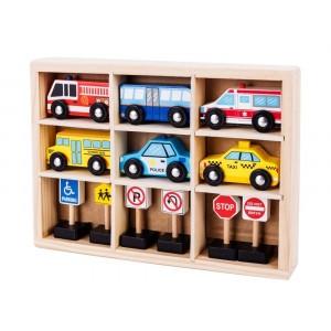 ECOTOYS - drewniany zestaw samochodzików (Z2606)