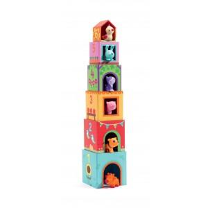 Djeco - klocki kartonowe ze zwierzątkami - Topanifarm (Z2845)