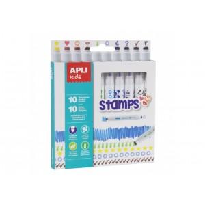 Apli Kids - Flamastry ze stempelkami 10 kolorów (Z2881)