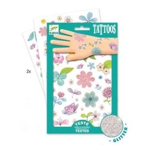 Djeco - tatuaże dla dzieci brokatowe - Kwiaty (Z3016)