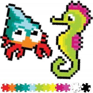 Fat Brain Toys - Jixelz Puzzelki Pixelki - Zwierzęta morskie 700 elementów (Z3058)