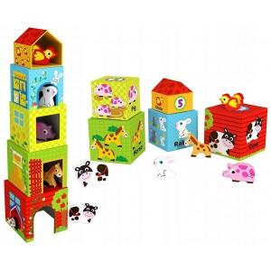 Tooky Toy - Wieża/piramidka ze zwierzętami (Z3160)