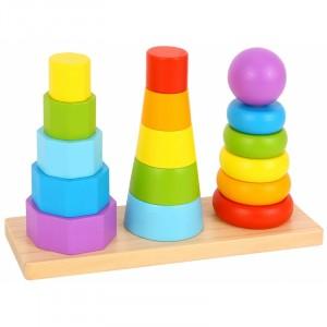 Tooky Toy - Drewniane sortery - trzy wieże do układania (Z3162)