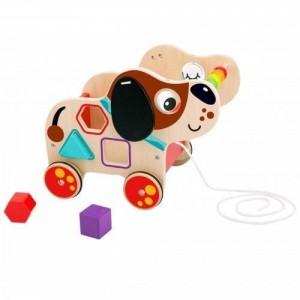 Tooky Toy - Drewniany sorter do ciągnięcia Piesek (Z3166)