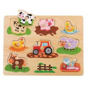 Lelin - układanka, puzzle drewniane z uchwytami Farma (Z3176)