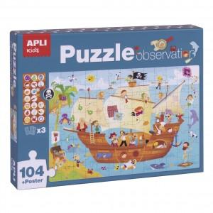 APLI Kids - Puzzle obserwacyjne - Statek piratów 104 el. (Z3205)