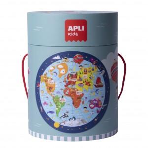 APLI Kids - Puzzle okrągłe w tubie - Mapa świata (Z3208)