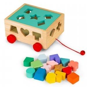 Ecotoys - Drewniany wózek sorter z klockami - kostka edukacyjna dla dzieci (Z3535)