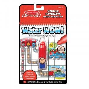 """Melissa&Doug - Water Wow Wodna kolorowanka wielokrotnego użytku """"Znajdź drogę"""" - Pojazdy (Z3575)"""