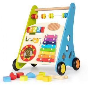 ECOTOYS - Drewniany pchacz chodzik wózek edukacyjny (Z2603)