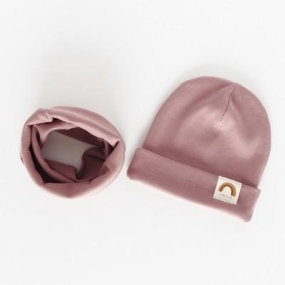 """Nitki Kid's Fashion - Komplet czapka z kominem prążek Rainbow - Piaskowy róż """"L"""" (Z3903)"""