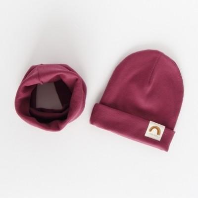 """Nitki Kid's Fashion - Komplet czapka z kominem prążek Rainbow - Smoky Lilac """"M"""" (Z3899)"""