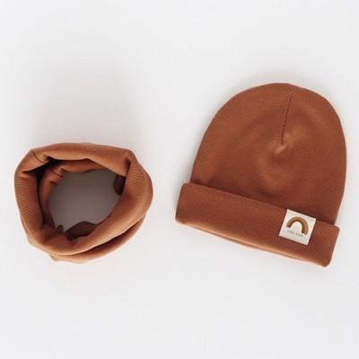 """Nitki Kid's Fashion - Komplet czapka z kominem prążek Rainbow - Cynamon """"M"""" (Z3893)"""