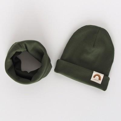 """Nitki Kid's Fashion - Komplet czapka z kominem prążek Rainbow - Khaki """"XL"""" (Z3892)"""
