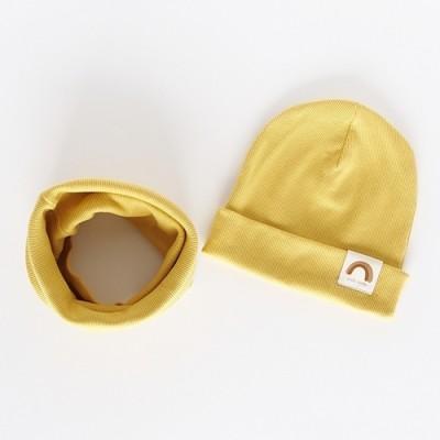 """Nitki Kid's Fashion - Komplet czapka z kominem prążek Rainbow - Miodowy """"M"""" (Z3896)"""