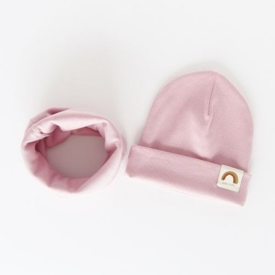 """Nitki Kid's Fashion - Komplet czapka z kominem prążek Rainbow - Pudrowy róż """"M"""" (Z3905)"""