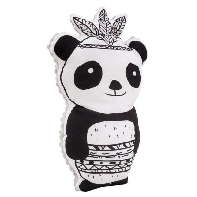 Poduszka maskotka Panda z piórami/ minky jasny szary (Z1702)